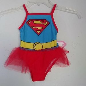 NWT Supergirl red blue swimsuit with tulle skirt